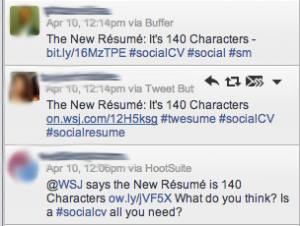 Tweets proclaiming that the new resume is 140 characters.